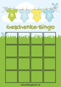 Babyparty Bingo Spiel