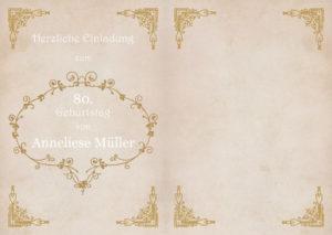 Einladungskarte Geburtstag Antik 2-seitig