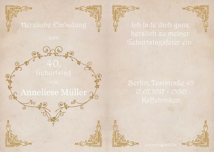 Einladung Zum 40 Geburtstag Gratis Karten Vorlagen Einladungstexte