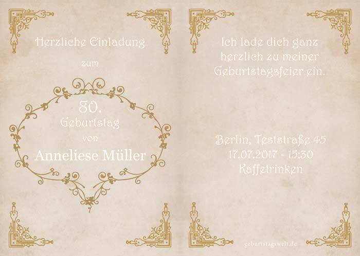 Einladung Zum 80 Geburtstag Gratis Einladungskarten Texte