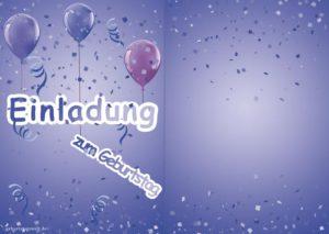 Einladungskarte Geburtstag Ballons blau 2-seitig