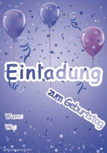 Einladungskarte Geburtstag Ballons blau
