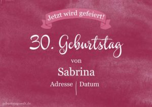 Geburtstagseinladung Geburtstagsparty 30.Geburtstag