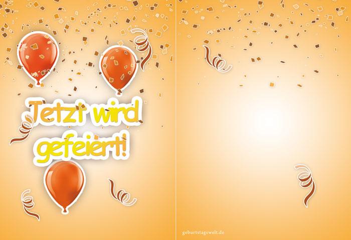 Geburtstagseinladung Ballons Orange