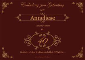 Geburtstagseinladung Ornamental 40.Geburtstag