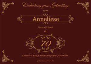 Geburtstagseinladung Ornamental 70.Geburtstag