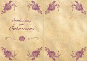 Geburtstagseinladung Vintage Rosen 2-seitig