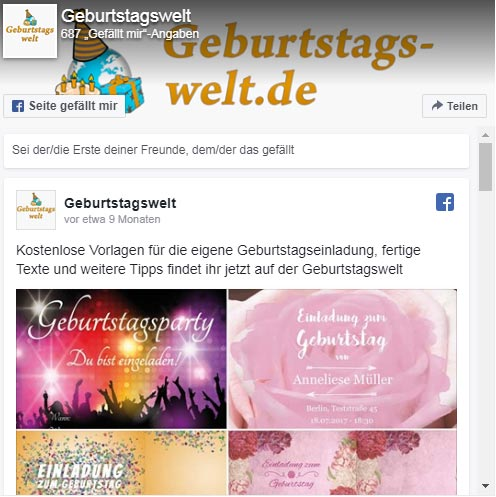 Geburtstagswelt facebook-page-plugin