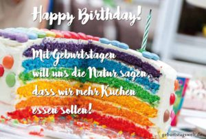 Lustige Geburtstagskarte - Mehr Kuchen essen