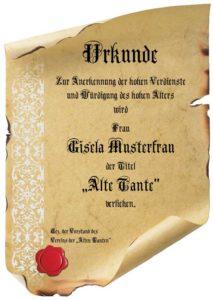 Urkunde Alte Tante